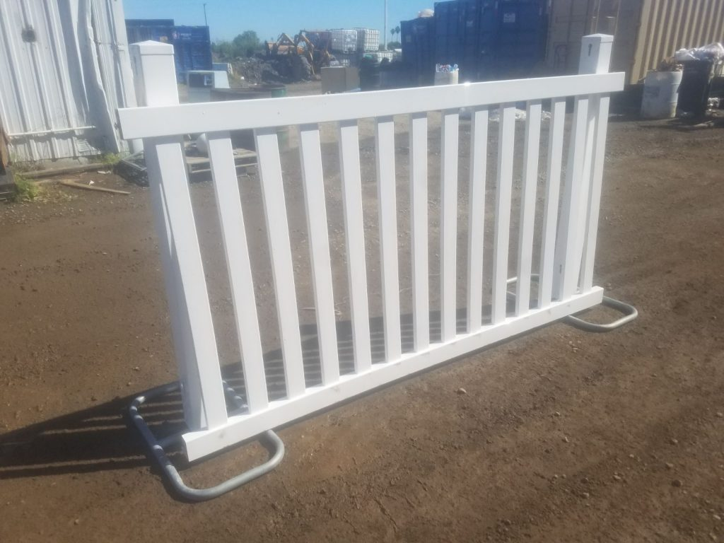 White Vinyl Fence | temporary fence rental San Francisco Bay Area | Sacramento Valley